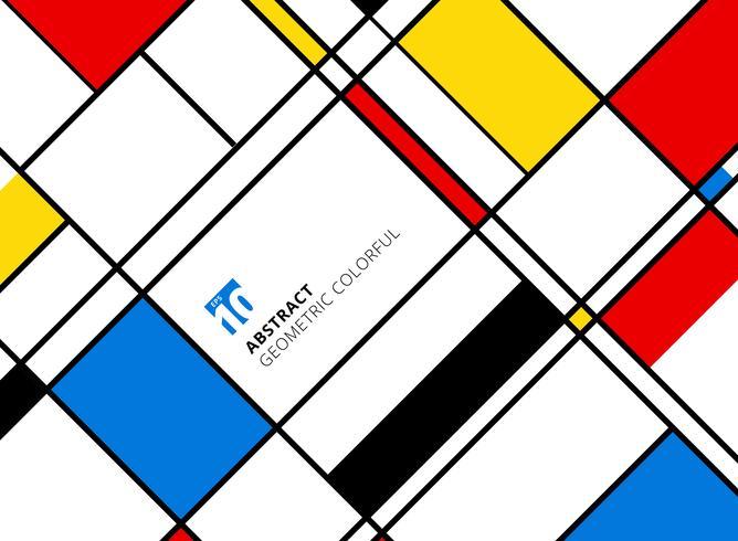 Motif coloré géométrique abstrait pour réplique continue avec des lignes sur fond blanc. vecteur