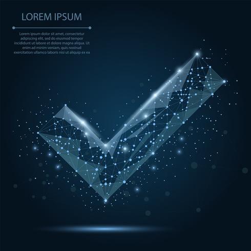 Ligne abstraite et coche bleue sur le ciel nocturne bleu foncé avec des étoiles. Fond polygonale poly faible avec points et lignes de liaison. Structure de connexion illustration vectorielle. vecteur