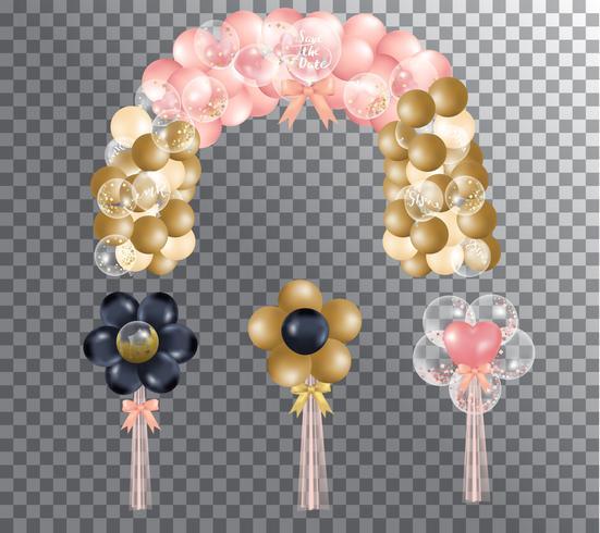 ballon rose et or dessiné à la main de dessin animé vecteur