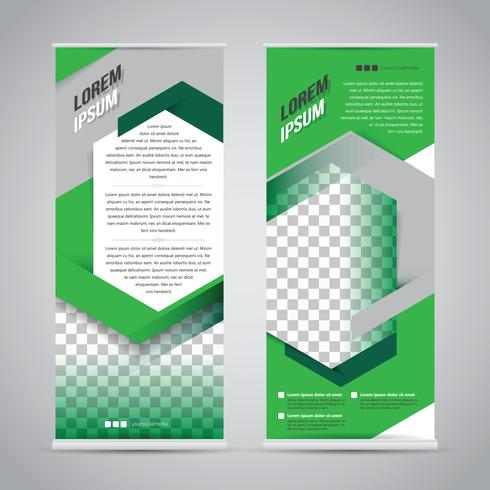 Green roll up bannière modèle de conception de stand vecteur
