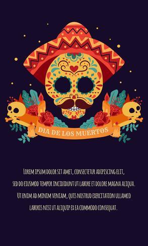 Crâne en sucre Affiche avec ruban, roses rouges, bougie Le jour des morts, Dia de Los Muertos, bannière avec des fleurs mexicaines colorées. Fiesta, affiche de vacances, flyer du parti, carte de voeux drôle - Illustration vectorielle vecteur