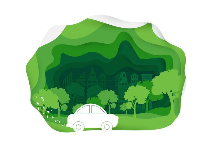 Voiture écologique style art vecteur