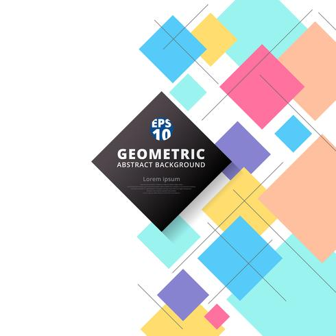 Fond géométrique abstrait motifs colorés et carrés. vecteur