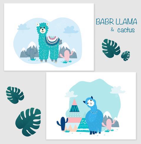 Ensemble de cliparts de lama et de cactus, aucun ensemble graphique de drama Llamas. vecteur