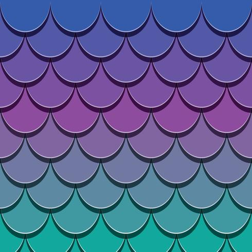 Motif de queue de sirène. Papier découpé fond de peau de poisson 3d. Spectre de couleurs vives. vecteur