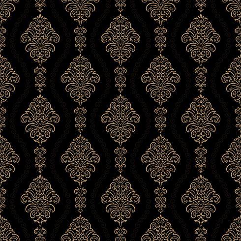 fond ornemental de luxe. Motif floral damassé d'or. Papier peint royal. vecteur
