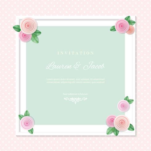 Cadre carré blanc décoré de roses sur fond de pois. Shabby Shic Design. Girly. vecteur