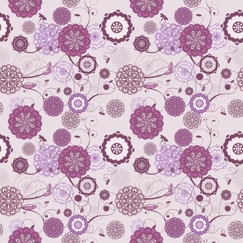 Modèle sans couture de vecteur avec fond floral romantique. Des teintes pastel subtiles et un ornement linéaire élégant.