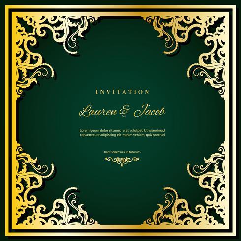 Modèle de carte d'invitation de mariage avec cadre de découpe laser. Conception de l'enveloppe en filigrane carré. Décor de luxe doré. vecteur