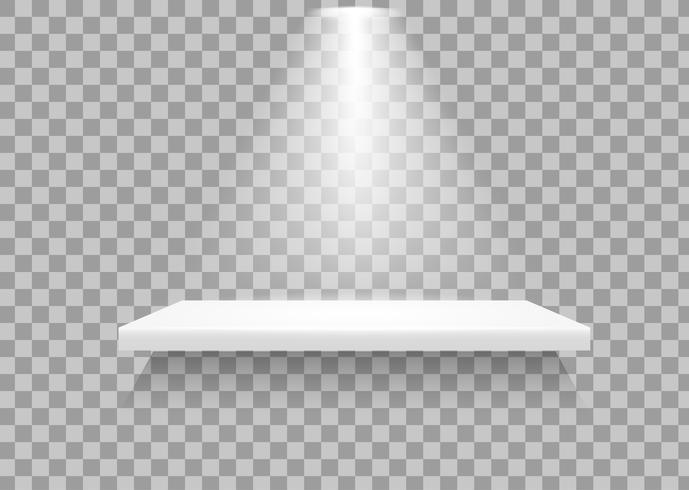 Tablettes vides Il y a une lumière qui éclaire le produit pour le faire ressortir. vecteur