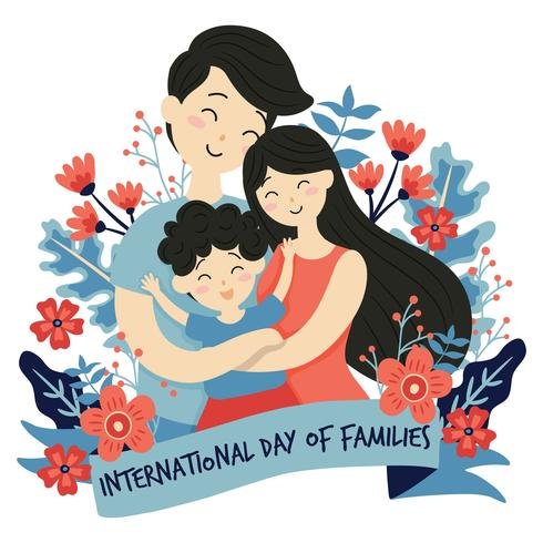 Dessinés à la main Journée internationale de la famille / Journée internationale des familles avec fond d'amour de guirlande de fleurs - Père Mère Fille fils Bébé Illustration vectorielle vecteur