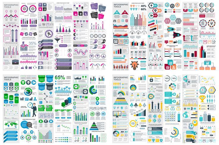 Ensemble de modèle de conception infographie éléments données visualisation de vecteur. Peut être utilisé pour les étapes, les options, les processus métier, les flux de travail, les diagrammes, le concept d'organigramme, la chronologie, les icônes ma vecteur