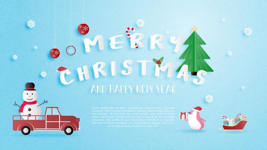 Joyeux Noël et bonne année carte de voeux en papier coupé style. vecteur