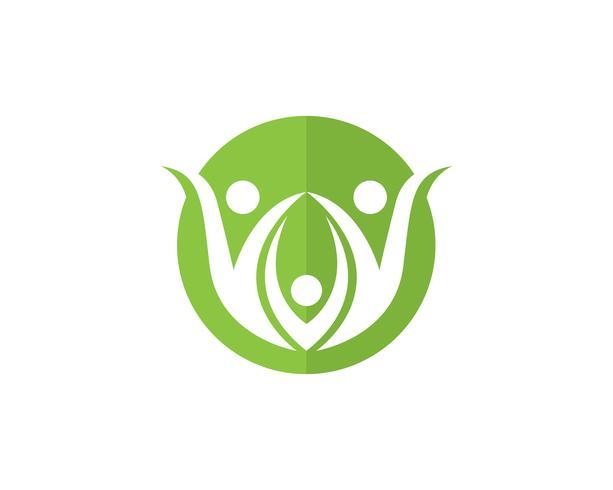 Santé logo de thérapie de soins familiaux et symboles nature vecteur