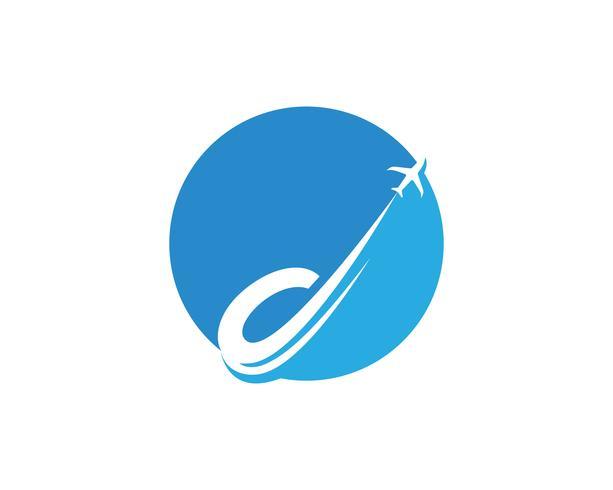 Modèle de vecteur avion logo et symboles de mouche
