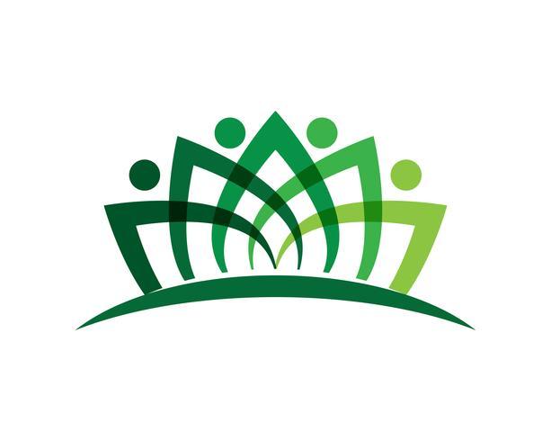 Signe de logo de caractère humain, logo de la santé. Signe de logo de nature. Signe de la vie verte logo vecteur
