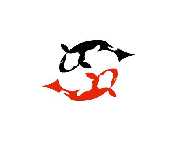 Logo de poisson Koi et symboles vectoriels modèles d'icônes vecteur