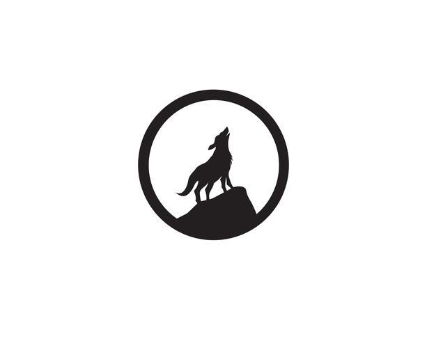 Loup nuit noir logo et symbole vecteur