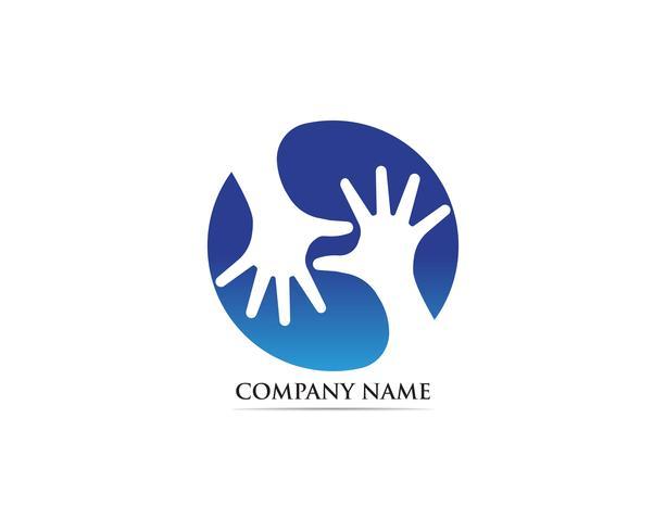 Vecteur de logo d'adoption de soins de la main