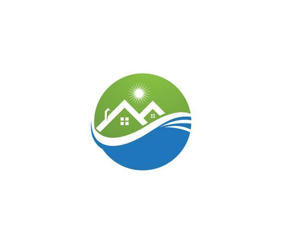 vecteurs de logo de maison verte vecteur