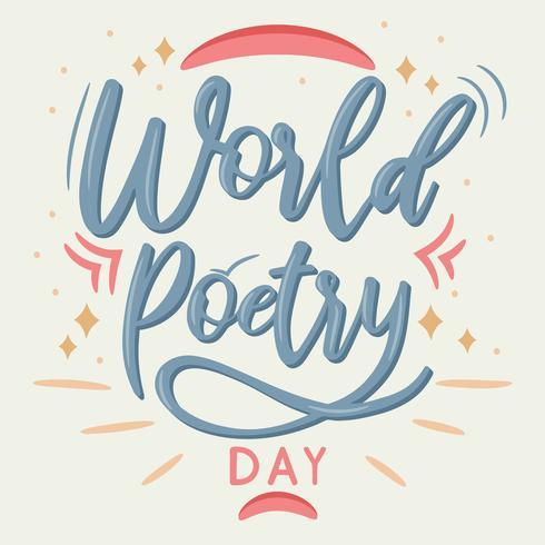 Journée de la poésie lettrage calligraphie mondiale - Illustration vectorielle vecteur