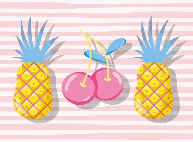 Fruits pastel punchy vecteur
