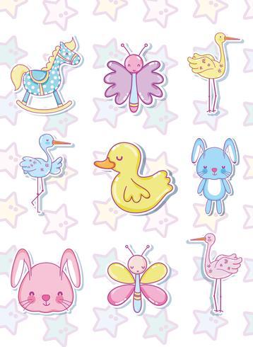 Collection de dessins animés pour bébé vecteur