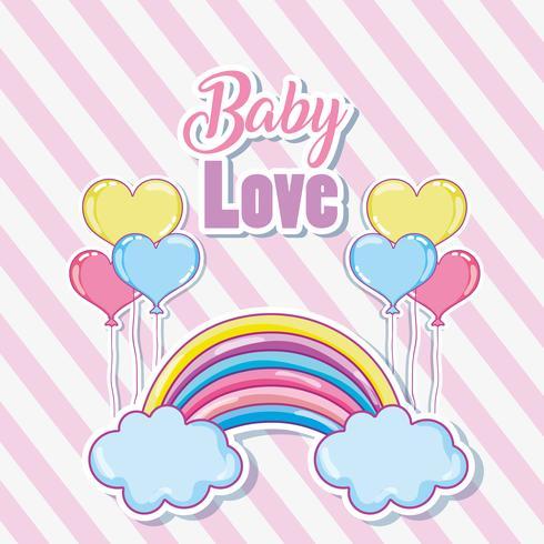 Carte d'amour bébé mignon vecteur