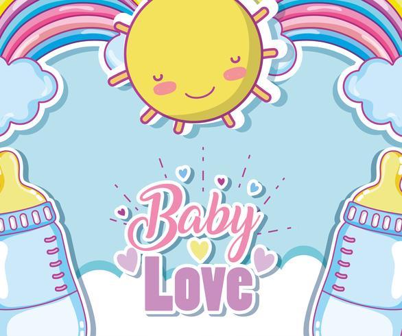 Carte d'amour de bébé avec des dessins animés mignons vecteur