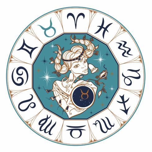 Le signe du zodiaque taureau comme une belle fille. Horoscope. Astrologie. Victor. vecteur