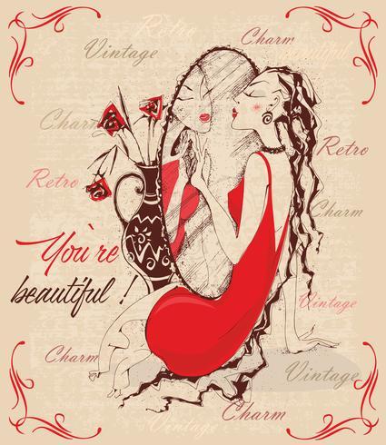 Style rétro. Carte postale vintage. La dame dans le miroir. Les inscriptions. Tu es beau. Charme. Vecteur