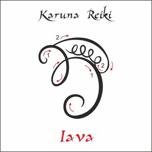 Karuna Reiki. Guérison énergétique. Médecine douce. Symbole Iava. Pratique spirituelle. Ésotérique. Vecteur