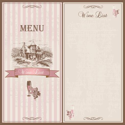 Carte des vins. Carte des vins. Modèle de conception pour les restaurants. Esquisse du château avec des champs de vigne. Des raisins et un verre de vin. Design vintage élégant. Vecteur. vecteur