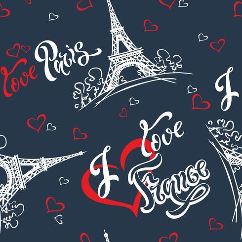 Modèle sans couture. J'aime Paris. J'aime la France. Lettrage élégant. Cœurs. Tour Eiffel. Esquisser. Fond bleu Victor vecteur