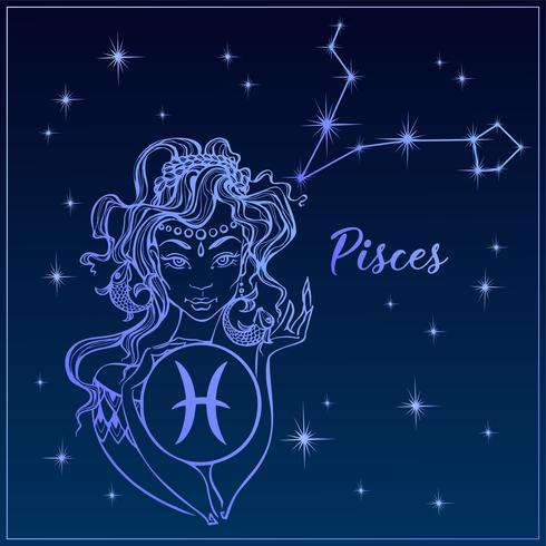 Signe du zodiaque Poissons comme une belle fille. La constellation des poissons. Ciel de nuit. Horoscope. Astrologie. Vecteur. vecteur