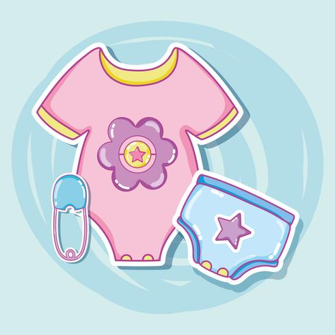 Dessins animés vêtements bébé vecteur