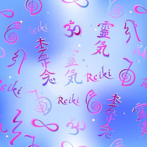 Frontière sans couture avec symboles d'énergie Reiki. Ésotériste. Guérison énergétique. Médecine douce. Vecteur. vecteur