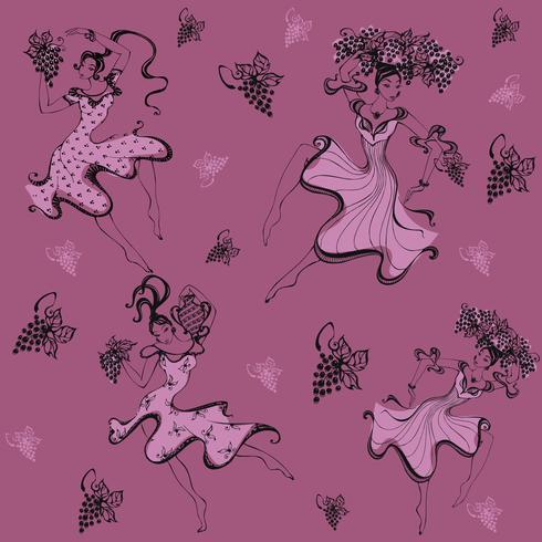 Modèle sans couture. Les filles ramassent des raisins. Récolte. Grain de raisin. Impression. Danseuse. Vecteur. vecteur