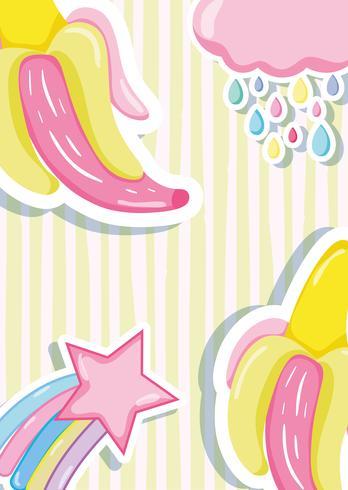 Pastels perforés bananes et étoiles vecteur