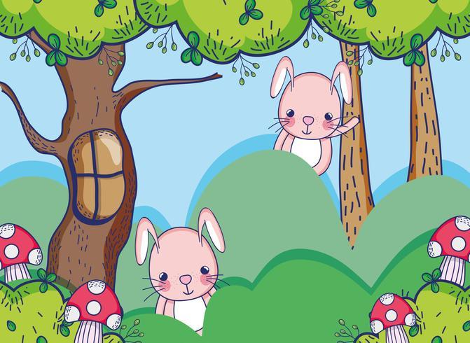 Lapins dans la forêt dessins animés mignons vecteur