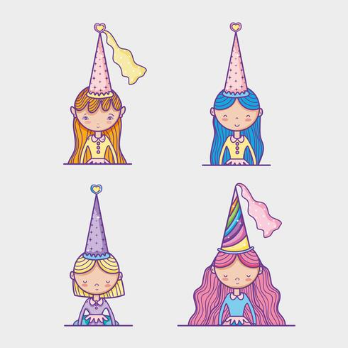 Petits dessins de princesse vecteur