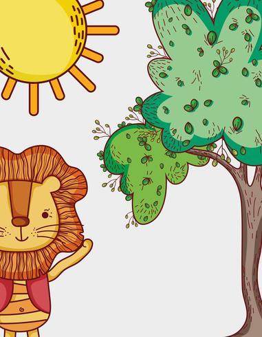 Les lions dans la forêt dessinent des dessins animés vecteur