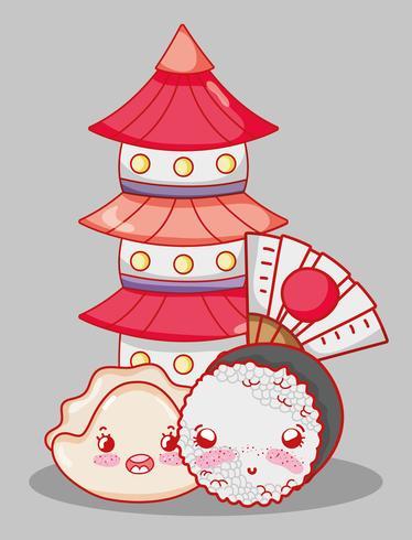 Dessin animé mignon de kawaii de sushi vecteur