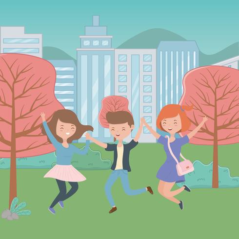 Conception de dessins animés pour adolescent garçon et filles vecteur