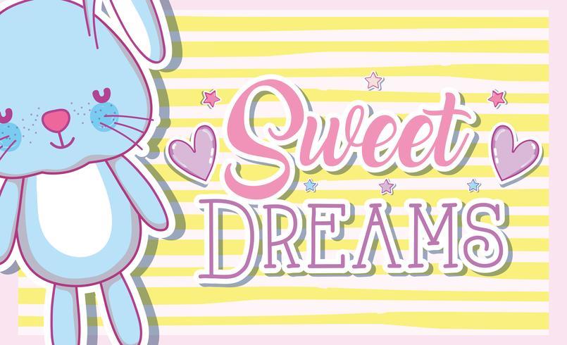 Carte de beaux rêves avec lapin mignon vecteur