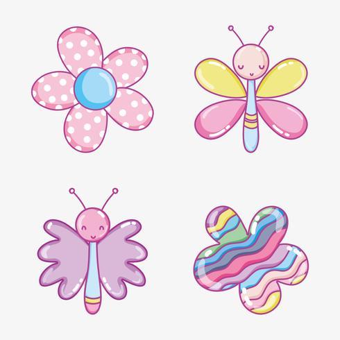 Collection de dessins animés mignons vecteur