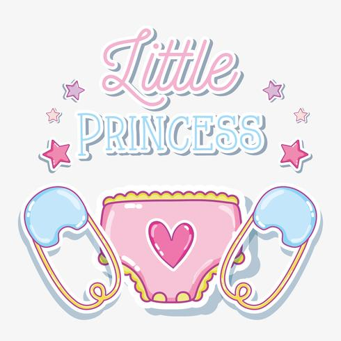 Petite carte de bébé fille princesse vecteur
