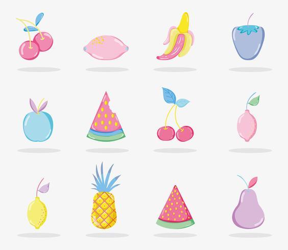 Collection de fruits Punchy Pastels vecteur