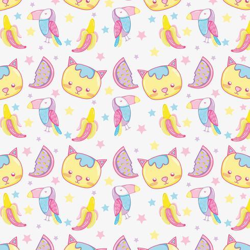 Motif de fond Punchy pastel animaux mignons vecteur