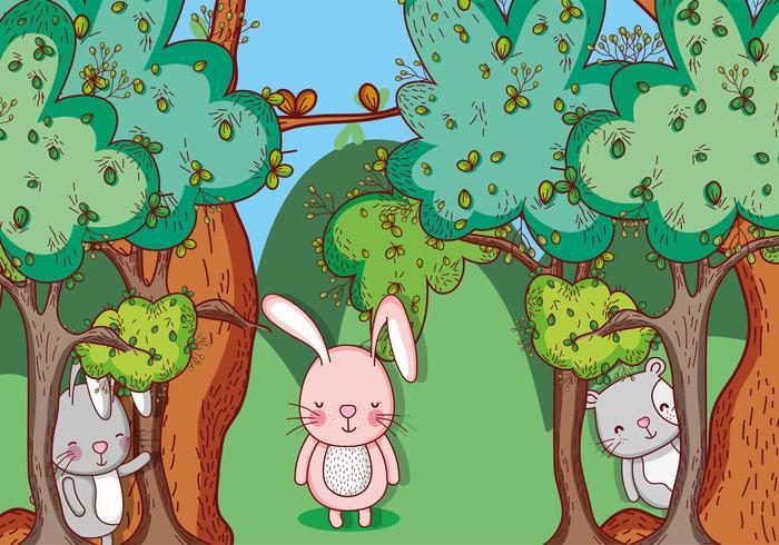 Animaux dans la forêt dessins animés doodle vecteur